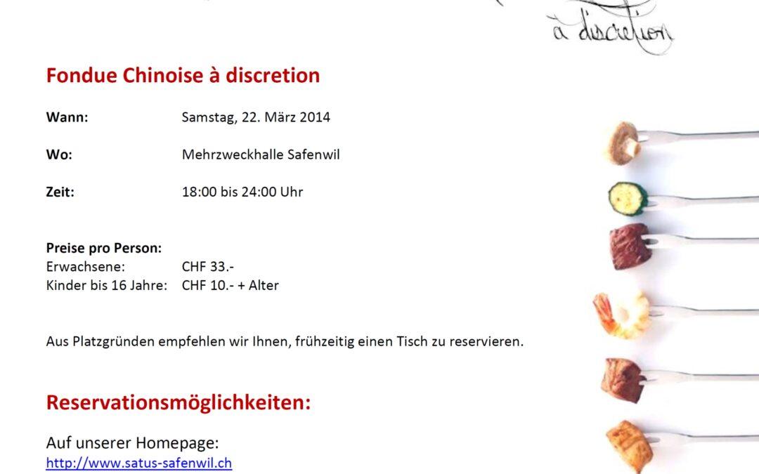 Flyer: Fondue Chinoise Abend 2014